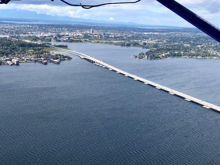 The floating bridge over Lake Washington