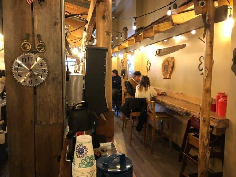 Cute and cabin-like interior of Bada NW Coffee Bar